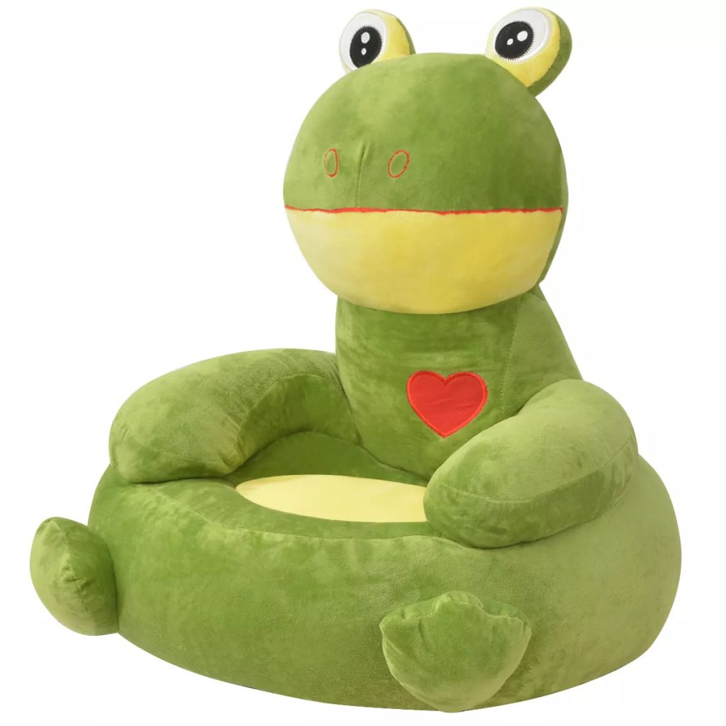 Plush Children's Chair Frog Green