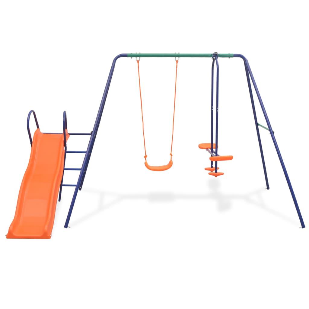 Swing Set with Slide and 3 Seats Orange