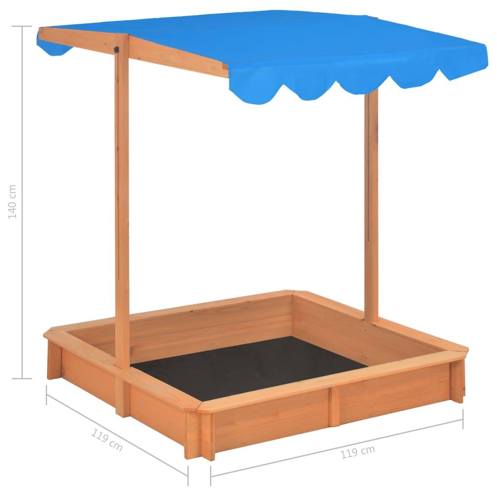 Sandbox with Adjustable Roof Wood Blue UV50
