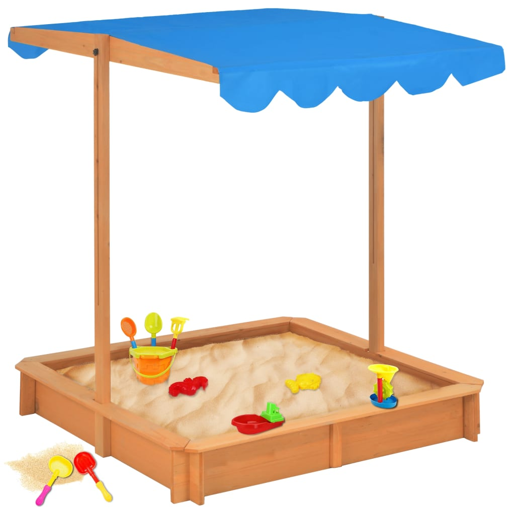 Sandbox with Adjustable Roof Wood Blue UV50