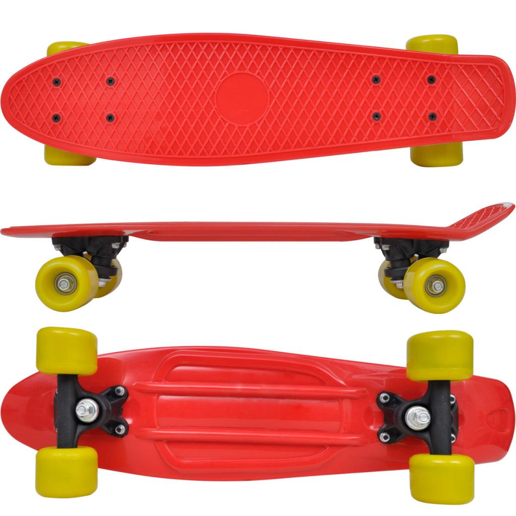 Retro Skateboard with Red Top Yellow Wheels 6.1""