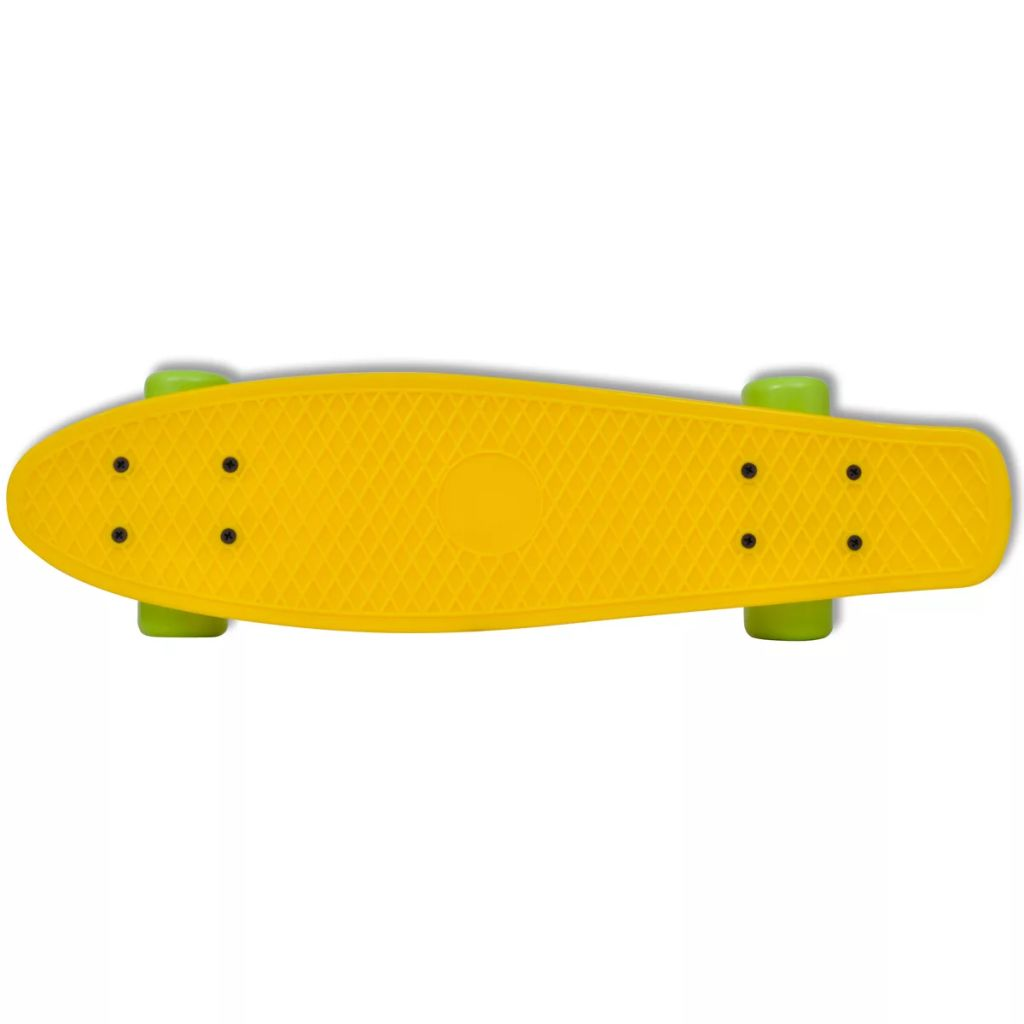 "Retro Skateboard with Yellow Top Green Wheels 6.1"""