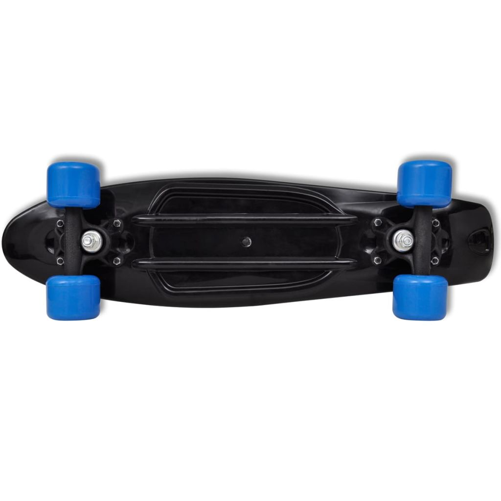 Retro Skateboard with Black Top Blue Wheels 6,1""