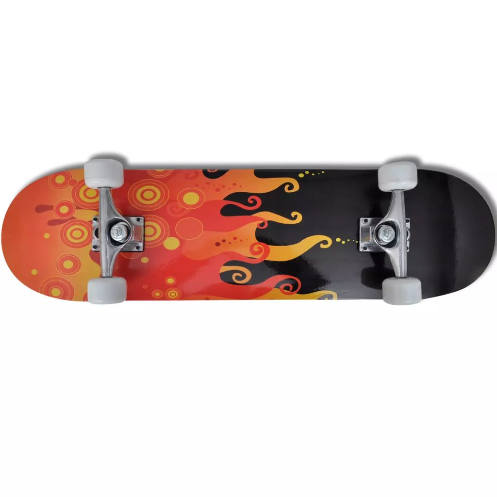 """Oval Shape Skateboard 9 Ply Maple Fire Design 8"""""""