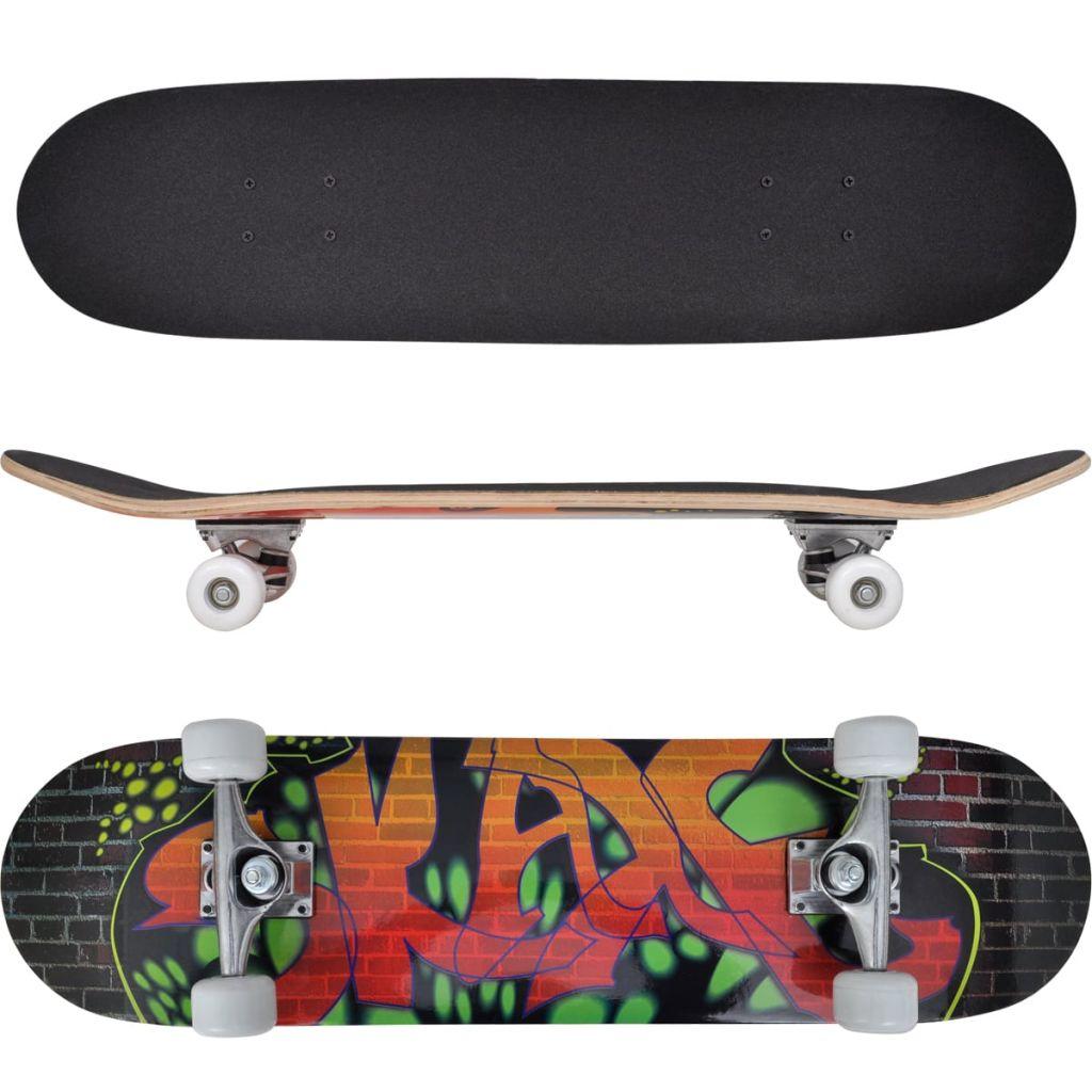 "Oval Shape Skateboard 9 Ply Maple Graffiti Design 8"""