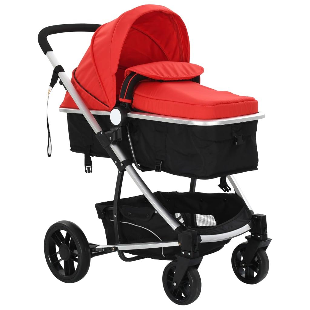2-in-1 Baby Stroller/Pram Aluminium Red and Black