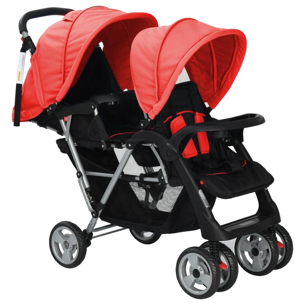 Tandem Stroller Steel Red and Black