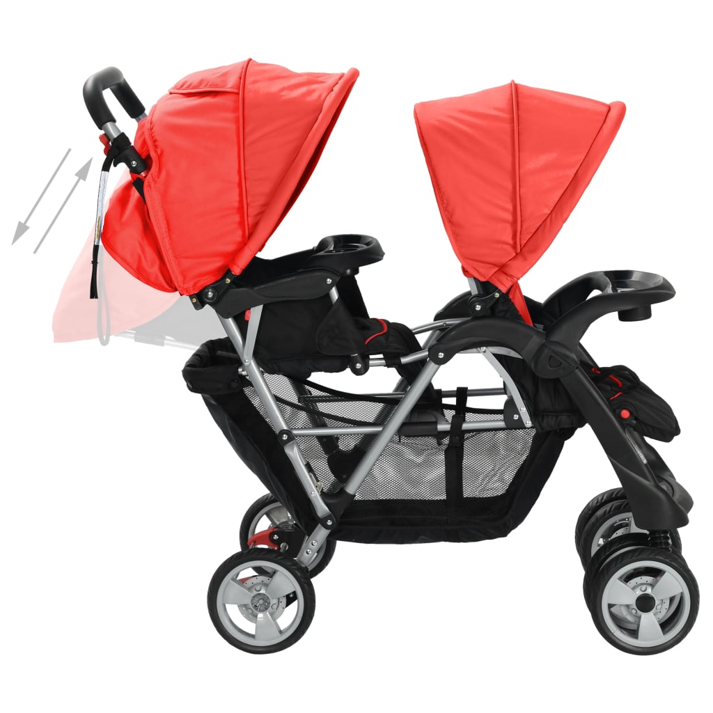 Tandem Stroller Steel Red and Black