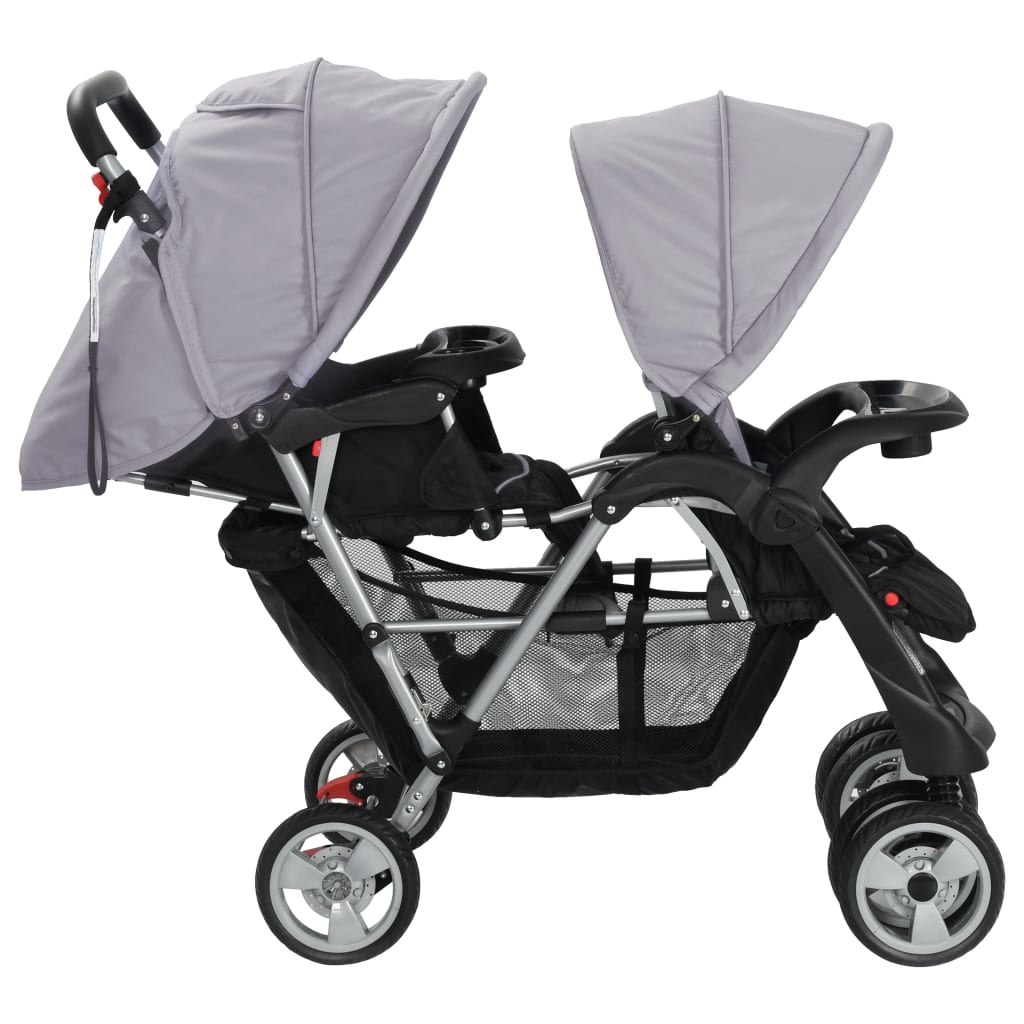 Tandem Stroller Steel Grey and Black