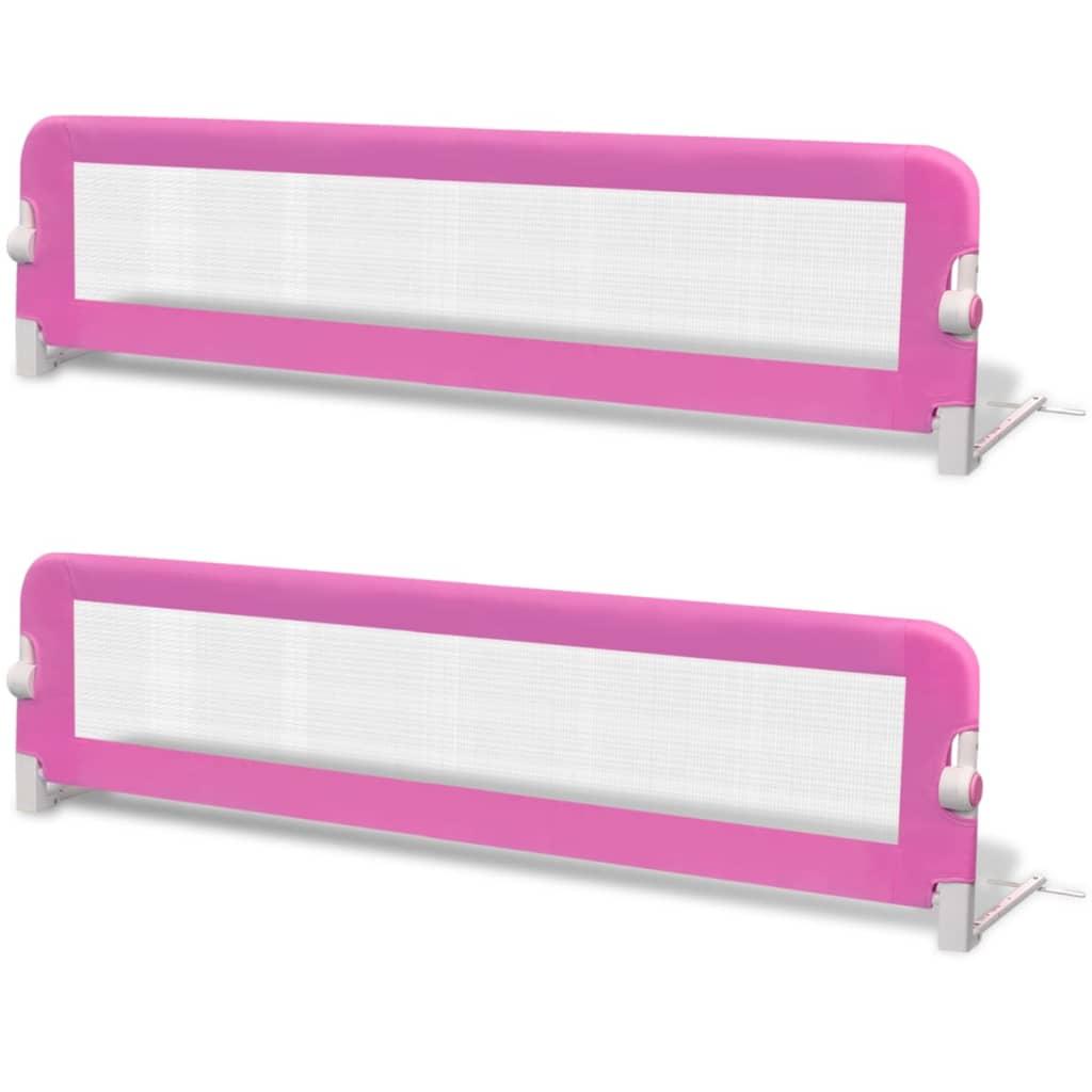 Toddler Safety Bed Rail 2 pcs Pink 150x42 cm