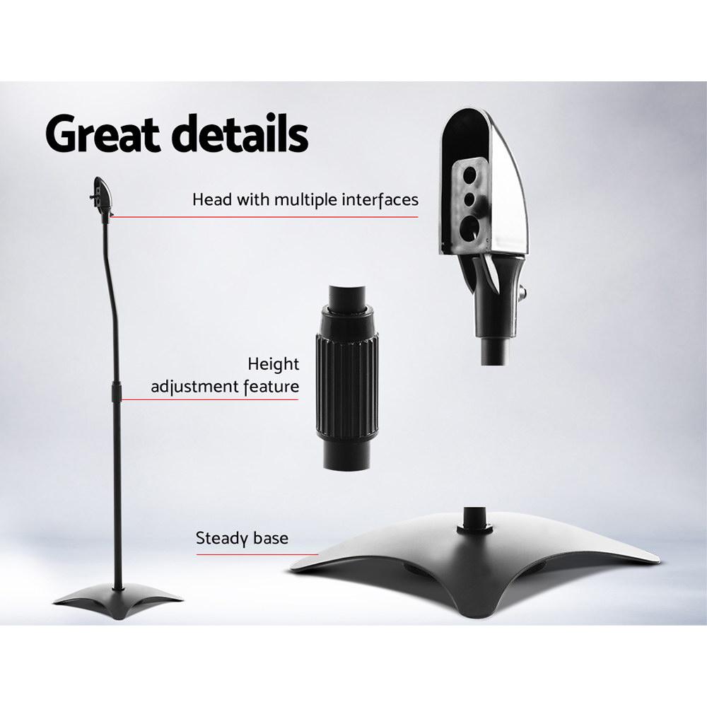 Set of 2 112CM Surround Sound Speaker Stand - Black