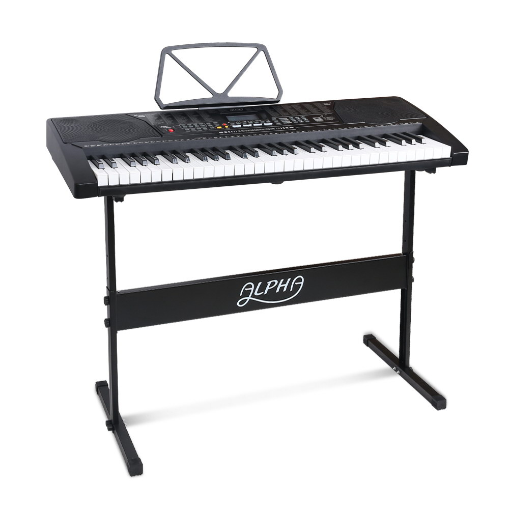 Alpha 61 Key Lighted Electronic Piano Keyboard LCD Electric w/ Holder Music Stand
